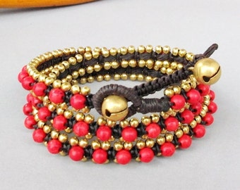 Charm Triple Wrap Bracelet with Red Coral Stone  and Brass Bead W175