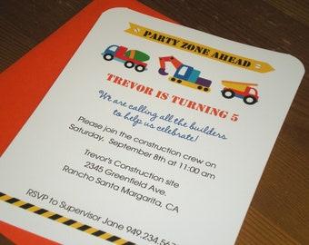 Construction Birthday Invitations / Dump truck birthday - Set of 12