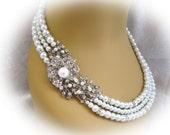 Bridal White Swarovski Pearls Necklace Weddings necklace Bridal Necklace pearl Necklace  Vintage Style Bridal Jewelry Pearl Bridal Jewelry