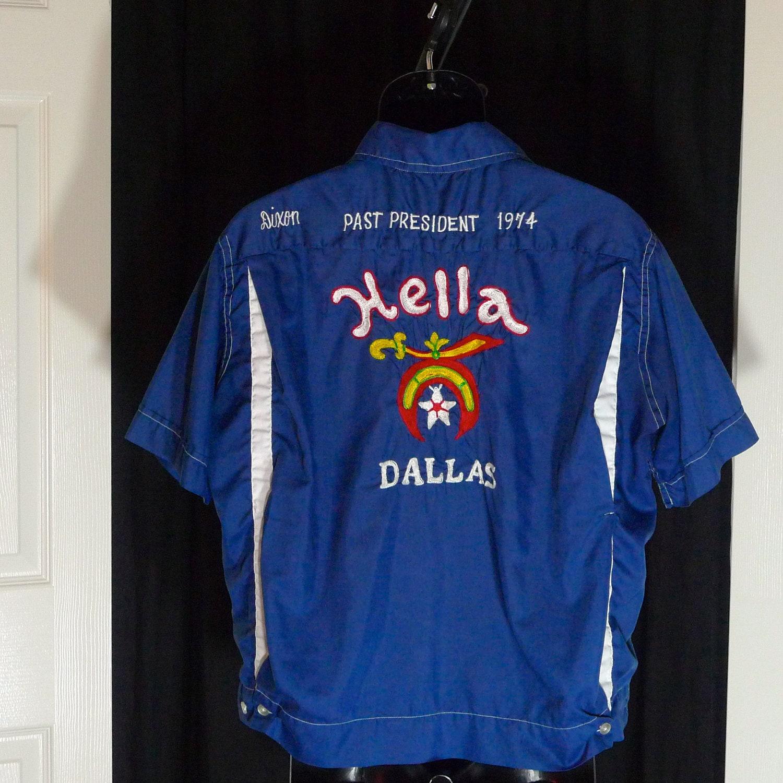 Bowling shirt hella shriner personalized ricky dallas texas for Custom made shirts dallas