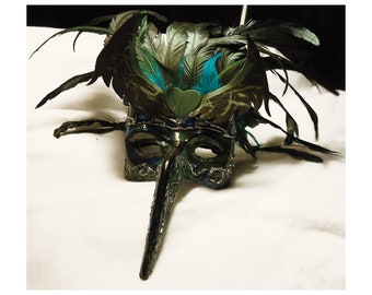Feathered tribal fun costume Mask, Gala, Masked ball, Turquoise, ooak, hand sculpted mask, Halloween Costume, green and blue,