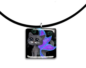 Russian Blue fairy Frixie pixie cat, Fantasy art glass tile pendant, tan tiger tabby, purple and black, starry night