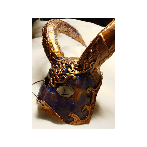OOAK, Masquerade mask, Halloween mask, handmade, paper mache mask, horned creature, bronze blue