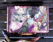 Wolf Medicine OOAK  Handpainted/Decoupage Vintage Samsonite Train Case