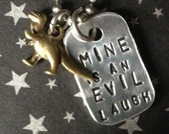 "Hand Stamped Firefly Necklace, ""Mine is an Evil Laugh"""