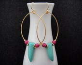 Boho Chic Gold Tear Drop Hoops with Turquoise Tusk Spikes, Fuchsia Candy Jade Beads, and Gold Accents