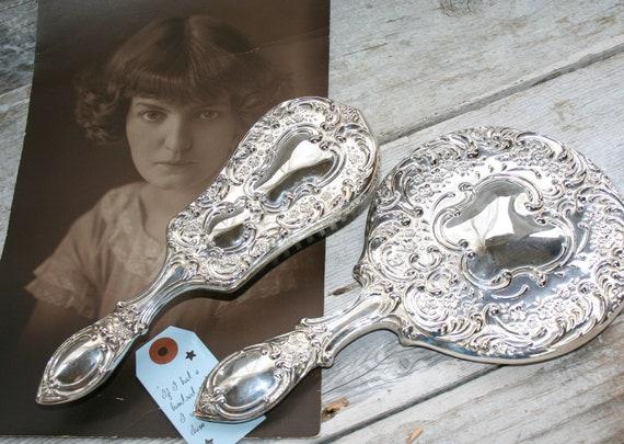Vintage Two Piece Vanity Set, Silver Plate