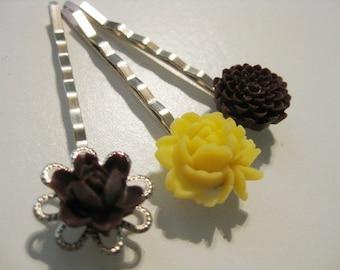 Yellow and Burgundy Maroon Floral Bobby Pin Set B-33
