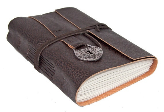 Brown vegan faux leather journal - Faux journal personnalise ...