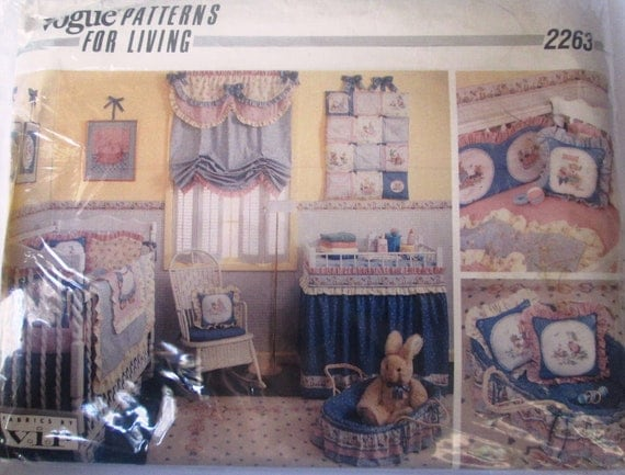 Vogue 2263 Baby 80s Nursery Room Quilt Bumper Pads Pillow Basket Sewing Pattern