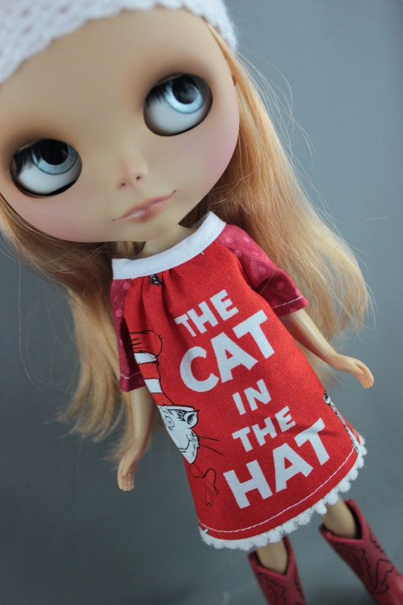 SALE Blythe Long Smock Style Dress - Dr Seuss Cat in the Hat