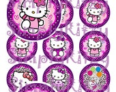 Hello Kitty Purple Bottle Cap Images 1 inch circles