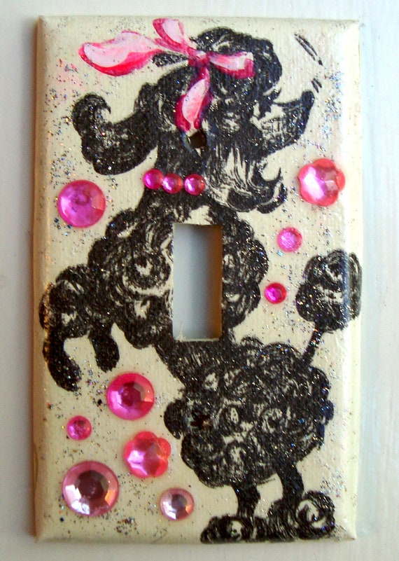 Upcycled Vintage Wallpaper Poodle Switchplate (015)