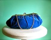 Vintage Velvet Cobalt Blue Asymmetrical Clutch with Gold Chain Elegant