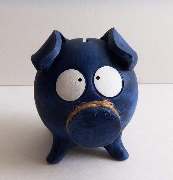 Boy piggy bank dark blue ceramic coin bank for by clayfulstudio - Ceramic piggy banks for boys ...