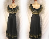 Vintage Long Black Party dress plunging neckline front and back