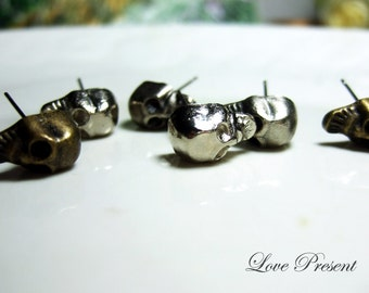 Rock N Roll and Punk Skull Head earrings stud style - Choose your color