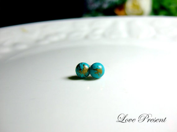 Mini Rock N Roll and Punk Round earrings stud style - Color Turquoise Teal Blue Patina Verdigris
