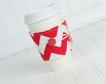 Red Chevron Coffee Sleeve Coffee Cozy for Men or Women, Unisex Coworker Gift Idea, Reusable Cuff