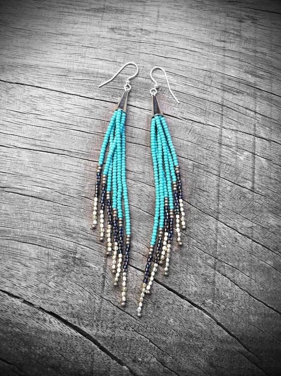 Beaded Fringe Earrings, Seed Bead Earrings, Native American Inspired, Tribal Jewelry by Kadhi Bo