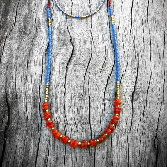 Cornflower Blue Necklace - Boho Seed Bead and Stone Jewelry - Layering Necklace, Tribal, Bohemian, Refined, OOAK, Elegant, Summer Trends
