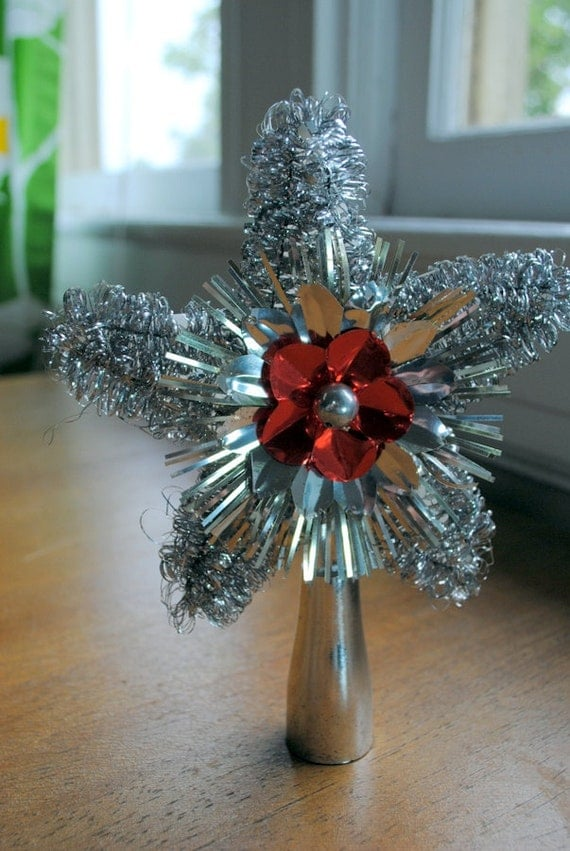 Christmas Tree Silver Tinsel Star Topper