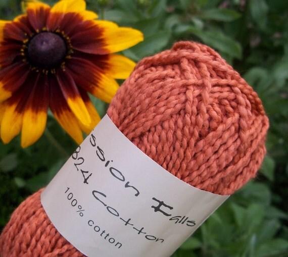 WORSTED Weight Yarn - Pumpkin Cotton - 1824 Mission Falls Cotton - 50g - Orange