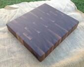 Walnut End Grain Cutting Board.  11 x 9.5x 1.75