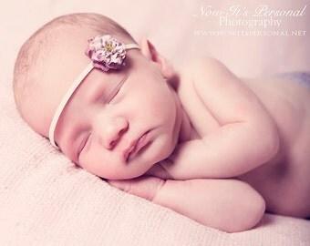 petite purple flower on neutral skinny headband