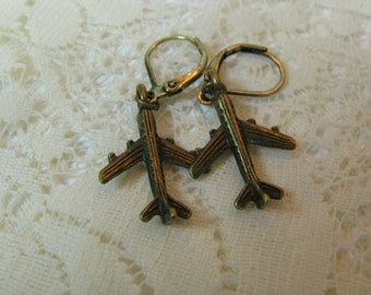 Flight Attendant Earrings  Flight Attendant Jewelry Bronze Jet Passenger Airplane Earrings
