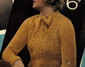 Golden Dawn, 1930s cable and bow jumper - Vintage Knitting Pattern PDF (324)
