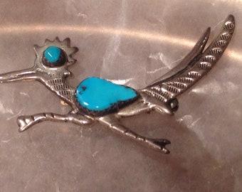 Vintage Roadrunner Turquoise Brooch Sterling Silver