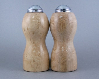 Salt and Pepper Shakers - Handmade Birdseye Maple with chrome caps