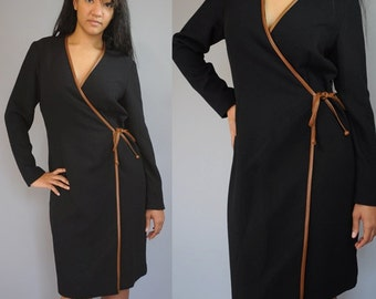 Vintage 80s Black Dress / Wrap Dress / Chetta B / M / L / Medium / Large
