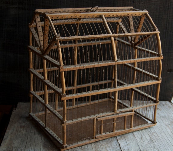 Wooden and Wire Bird Cage-  Rustic Vintage Birdcage