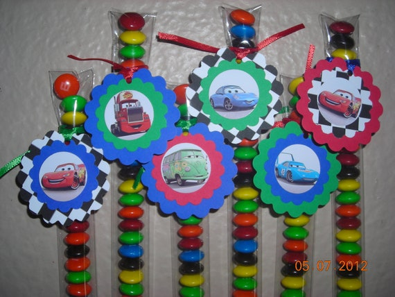 12 Cars Lightening McQueen Candy Treat Bags Favor Tags Stix Tubes Toppers Personalized Birthday Party Boys Mater Ramone Betty Disney