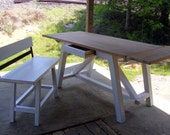 Shabby White and Natural Oak Mission Dininig Table With 2 Drawers and 1 Bench