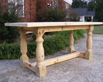 Handcrafted Solid Pine 36 INCH TALL Dining or Kitchen Table with 2 Inch Thick Top Beautiful Hand Carved Legs