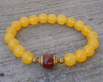 Genuine yellow jade gemstone mala bracelet with Tibetan capped carnelian guru bead
