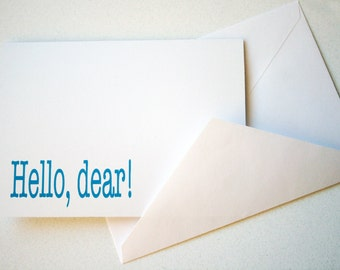 Stationery -- Hello, dear -- Set of 3 Folded Notes and Envelopes in Classic White