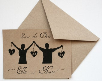 Wedding Save the Date -- The Silhouette -- Personalized Set of cards with envelopes -- CHOOSE YOUR QUANTITY
