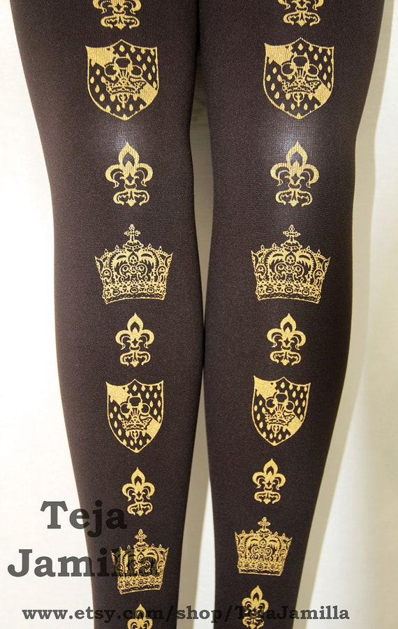 Crown Printed Tights Winter Thick Medium Tall Gold on Dark Brown Royal Victorian Steampunk Medieval Fleur de Lis Emblem Women Heraldic