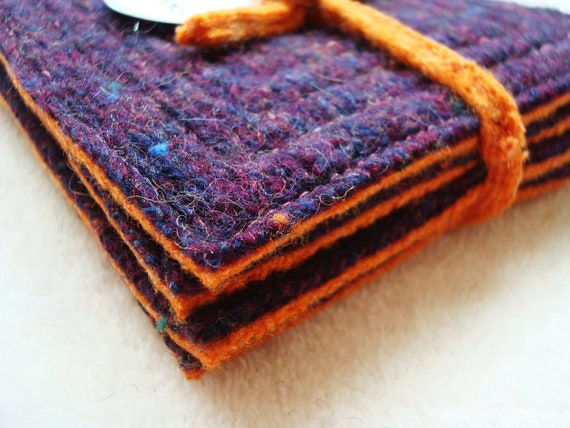 Eco Kitchen Coasters PUMPKIN & AUBERGINE for Fall Felted Wool Recycled Mug Rugs