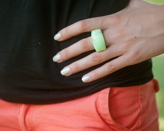 statement ring, size 7 facet ring, mint cocktail gold ring, gold flake ring,