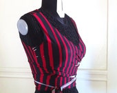 Wrap Top Red and Black Asymmetrical Stripe Choli Bellydance Burning Man Festival Hooping cirque burlesque Yoga Dance Size Extra Small