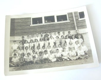 School class photograph, 1940s, back to school, hidden teacher, twins, real photo, vintage, antique, graduation gift, black and white, sepia