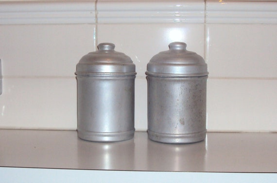 Sale 20% discount.Two vintage metal storage caddies / kitchen canisters