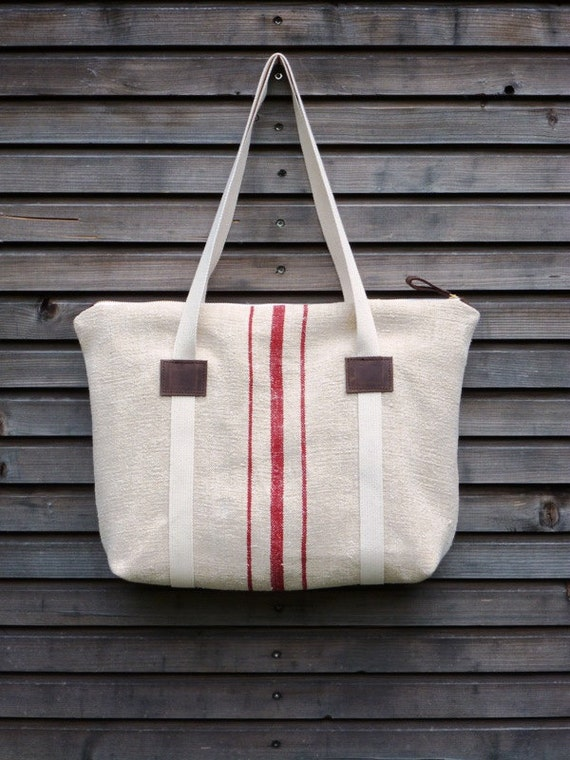 recycled antique linen carry all tote bag with zipper closure