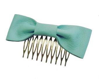 Leather bow - Hair comb - SALE Seafoam Leather Hair Bow Comb Aqua Lambskin Metal Hair Comb, only one