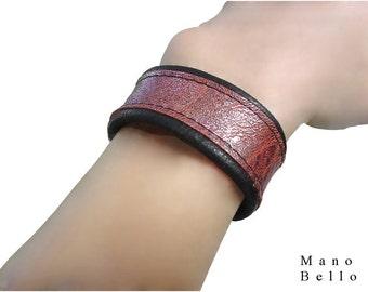 Womens Leather Cuffs - Copper & Black bracelet -  2 tone bracelet - Metallic leather - 1 inch - Sparkly bracelet - Bronze leather -  5.75